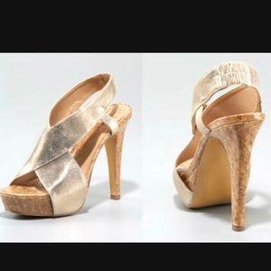 DVF Metallic Gold Cork Slingback High Heel Sandals